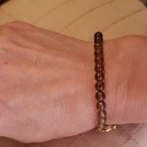 Jewelry - GOLDTONE & PURPLE QUARTZ BEAD BRACELET
